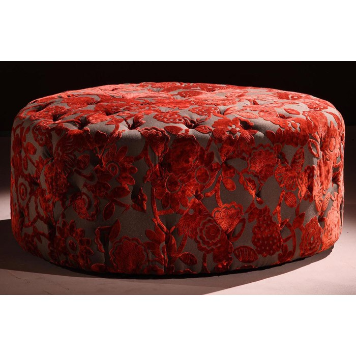Victoria Red Velvet Fabric Ottoman