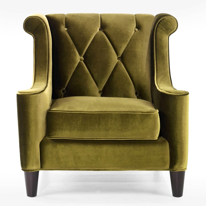 Barrister Velvet Fabric Armchair with Button Tufting - AL-LC8441