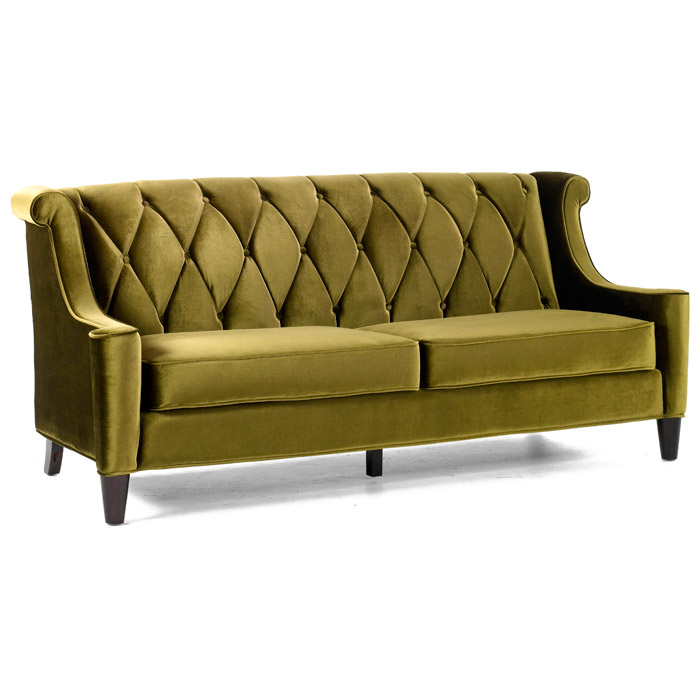 Barrister Velvet Fabric Sofa with Button Tufting - AL-LC8443