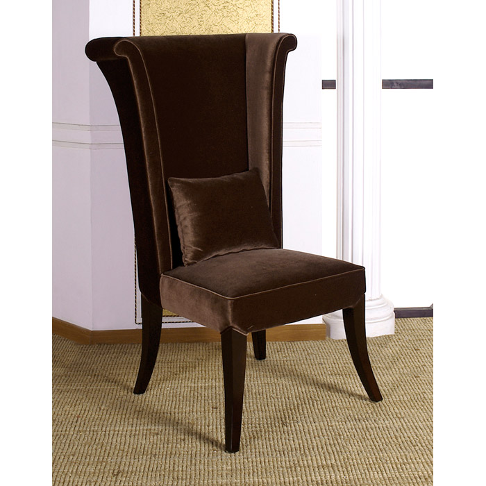 mad hatter dining chair in deep brown velvet fabric dcg