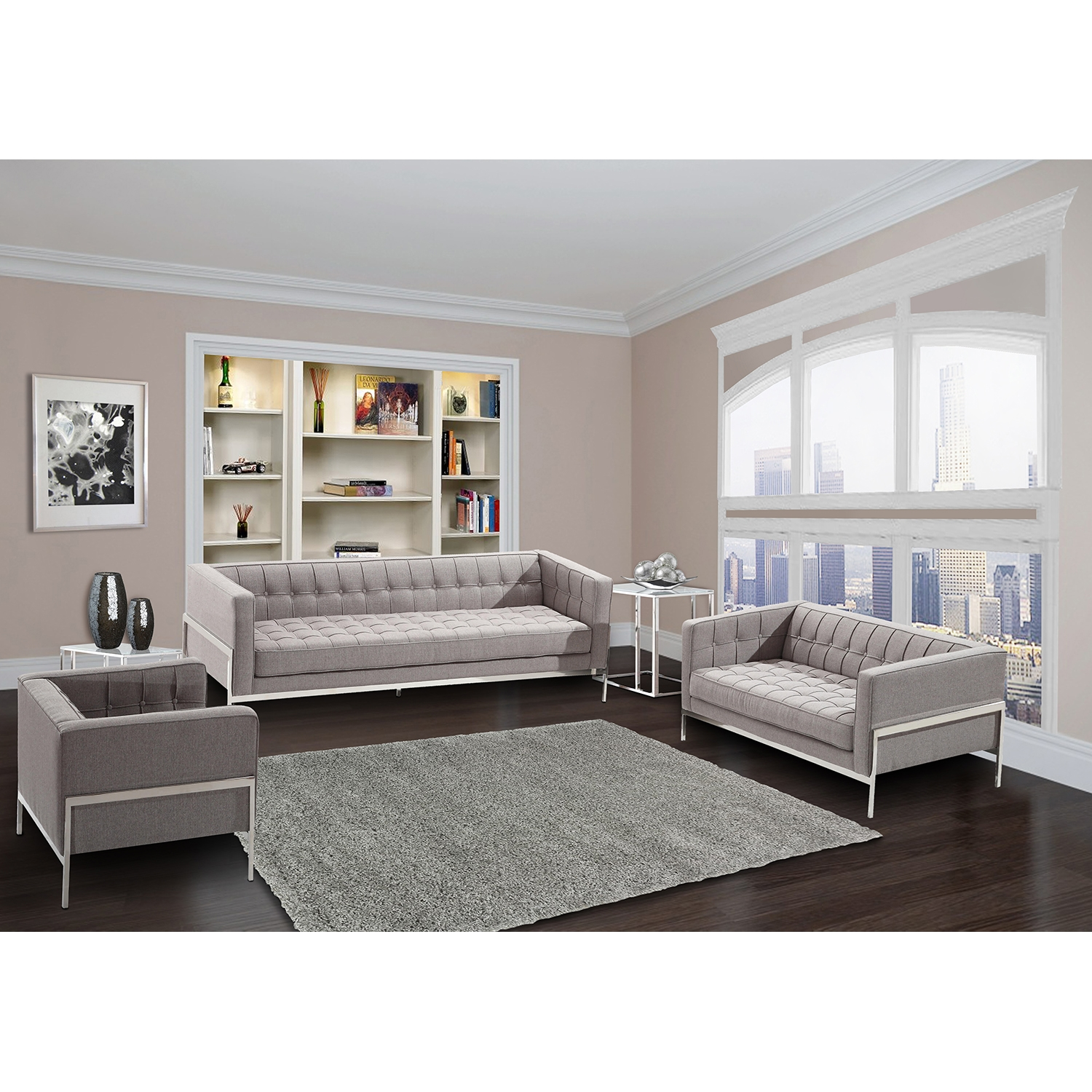 Andre Contemporary Loveseat - Gray Tweed - AL-LCAN2GR