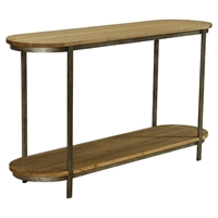 Barstow Pine Top Console Table - Gunmetal Frame
