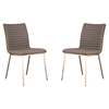 Cafe Dining Chair - Gray, Walnut Back, Brushed Stainless Steel (Set of 2) - AL-LCCACHGRB201
