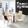 Cafe Dining Table - Clear Glass, Brushed Stainless Steel - AL-LCCADIB201TO