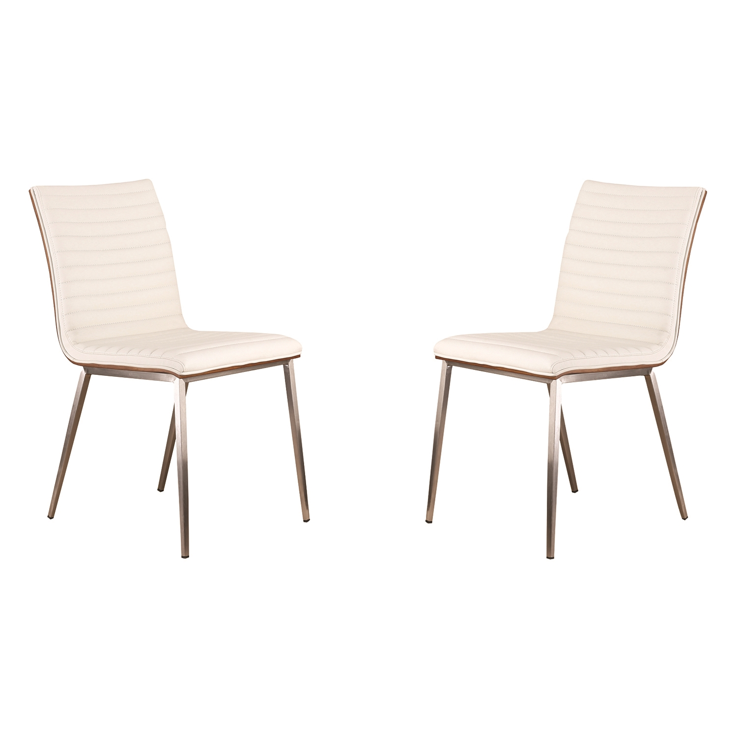 Cafe Dining Chair - White, Walnut Back, Brushed Stainless Steel (Set of 2) - AL-LCCACHWHB201