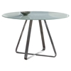Cameo Modern Dining Table - Painted Glass Top, Stainless Steel - AL-LCCADIWHGLTO