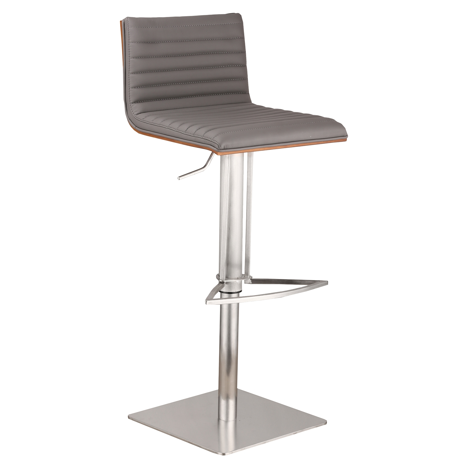 Cafe Adjustable Barstool - Gray, Walnut Back, Brushed Stainless Steel - AL-LCCASWBAGRB201
