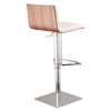 Cafe Adjustable Barstool - White, Walnut Back, Brushed Stainless Steel - AL-LCCASWBAWHB201