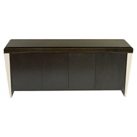 Chow Contemporary Buffet Table - Stainless Steel, Black Marble Top