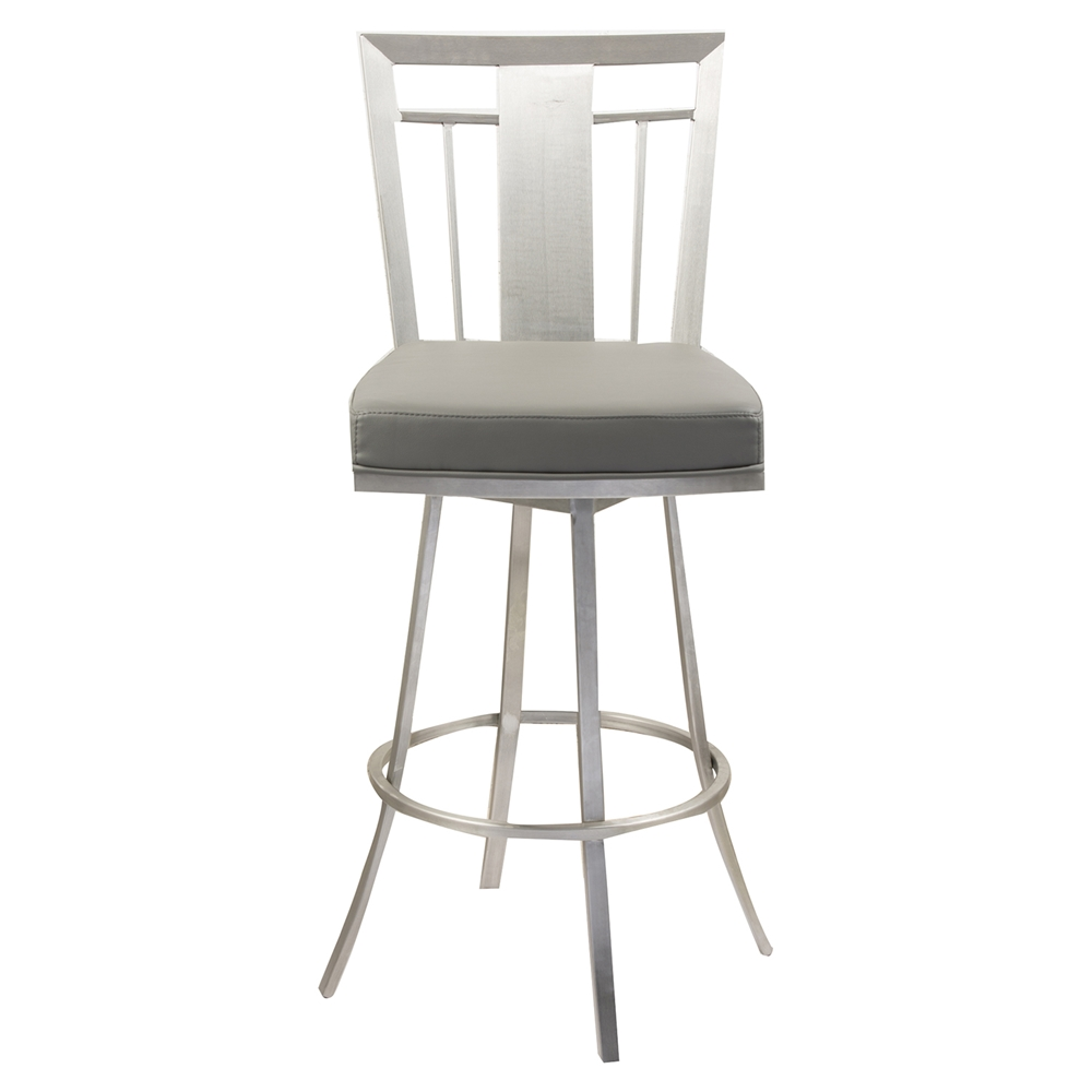 Cleo 26 Quot Modern Swivel Barstool Gray Stainless Steel