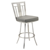 "Cleo 26"" Modern Swivel Barstool - Gray, Stainless Steel - AL-LCCL26SWBAGRB201"
