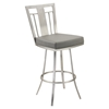 "Cleo 30"" Modern Swivel Barstool - Gray, Stainless Steel - AL-LCCL30SWBAGRB201"