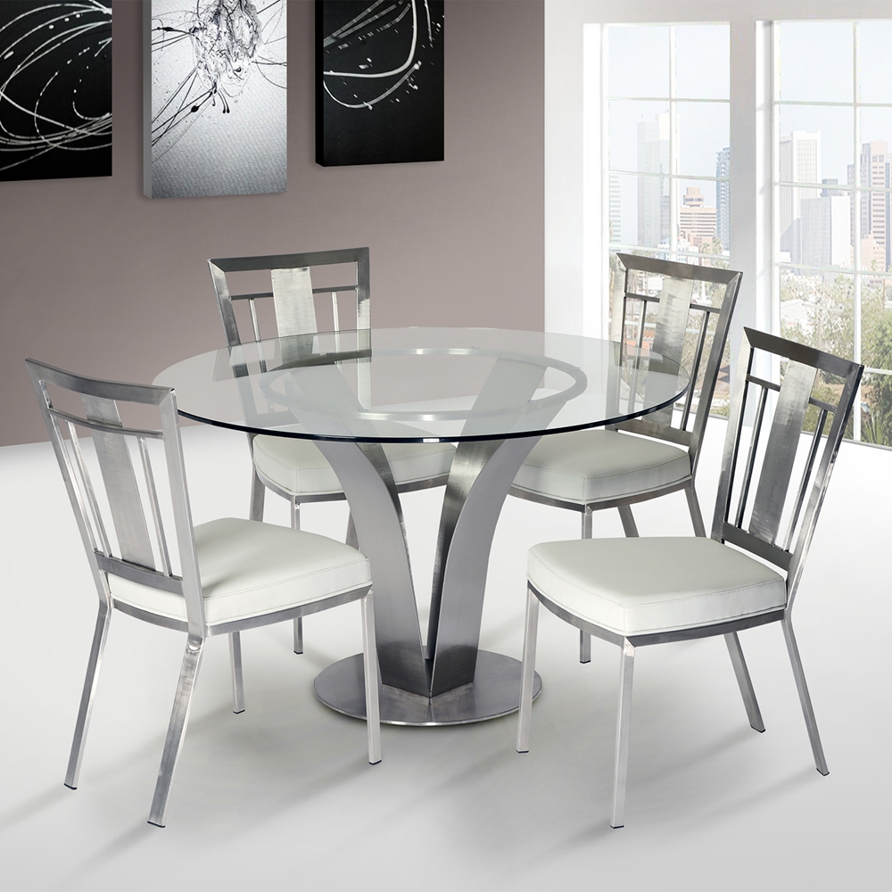 Cheap Dinette Sets Free Shipping: Cleo 5-Piece Contemporary Dining Set - White