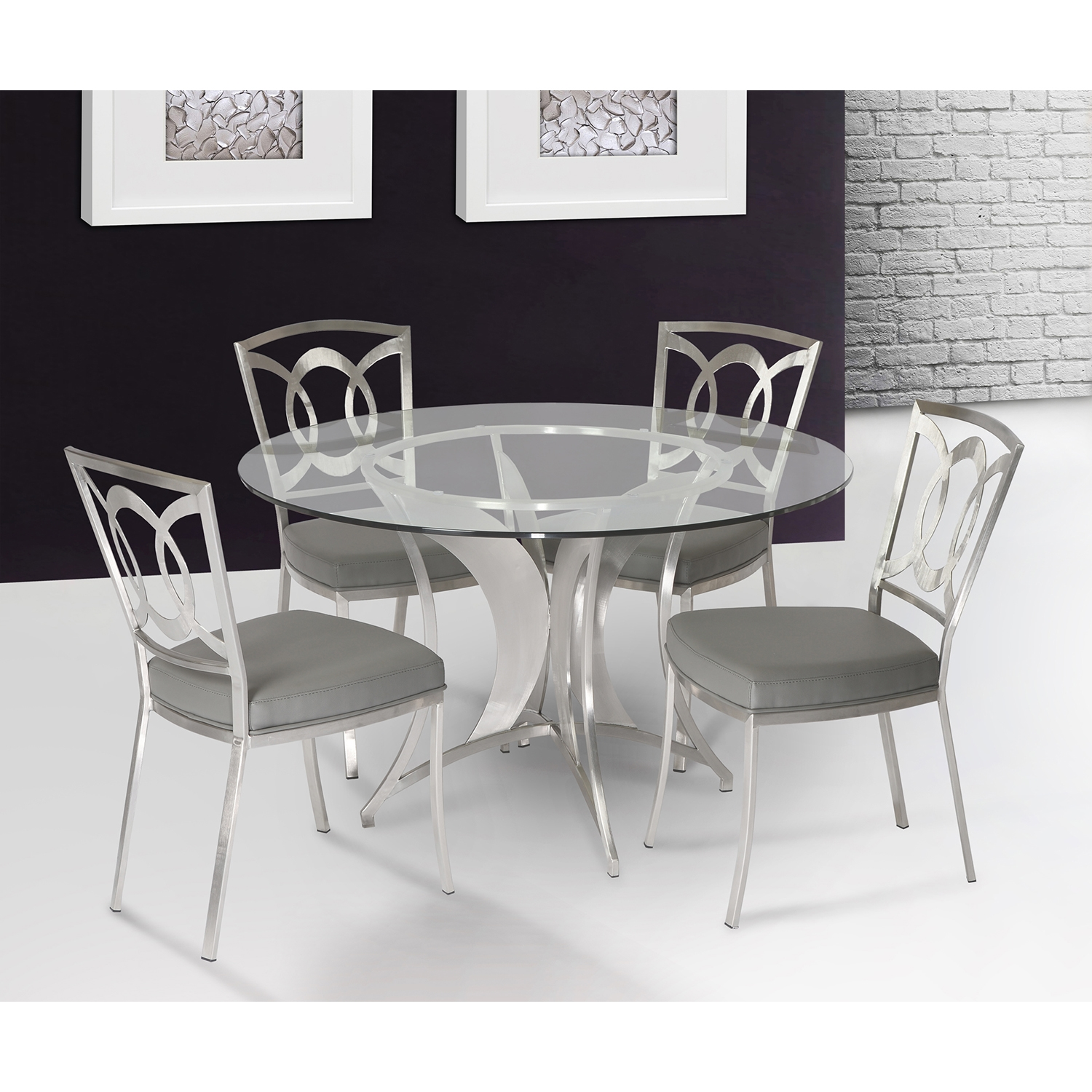 Drake 5-Piece Modern Dining Table - Gray - AL-LCDRDIB201TO-CHGRB201-SET