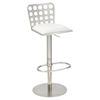 Dune Contemporary Barstool - Adjustable, White, Stainless Steel - AL-LCDUBAWHB201