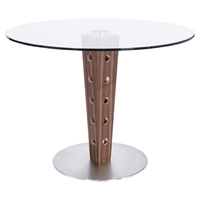 Elton Modern Dining Table - Glass Top, Stainless Steel Base