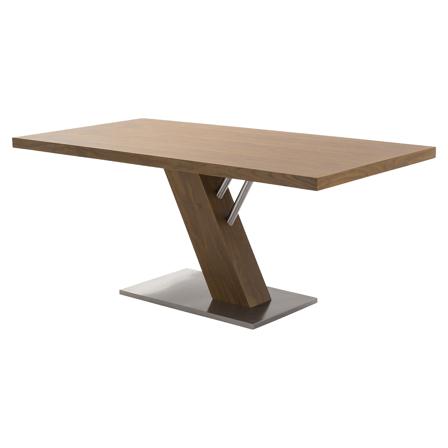 Fusion Contemporary Dining Table - Walnut Wood Top, Stainless Steel Base - AL-LCFUDIWATO