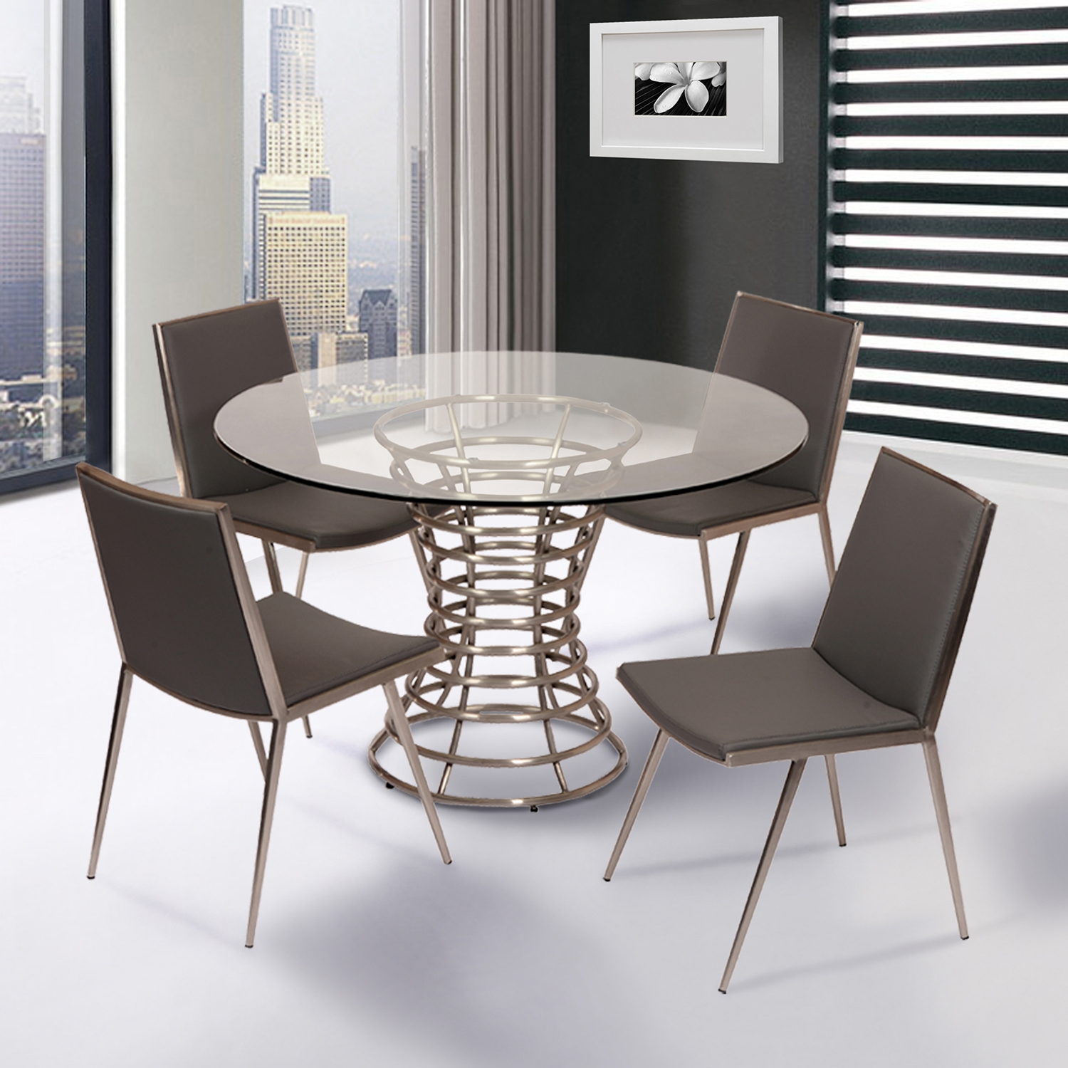 Ibiza Dining Table - Clear Glass Top, Brushed Stainless Steel - AL-LCIBDIB201