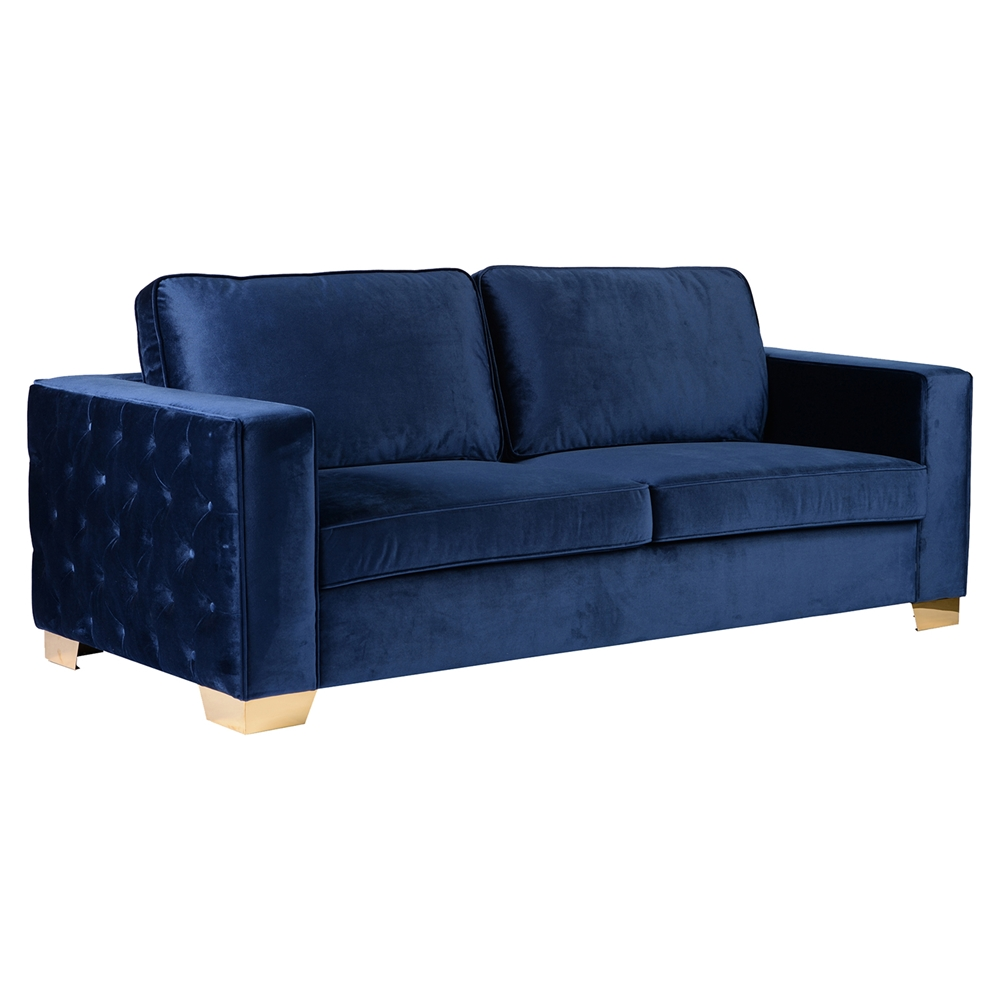 Isola Sofa Blue Velvet Tufted Gold Metal Legs Dcg Stores
