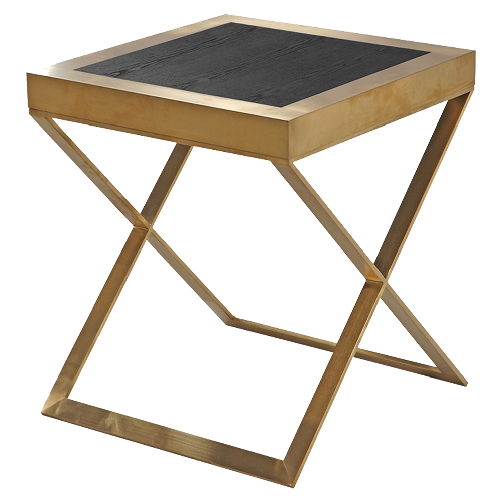 Jasper Modern End Table Gold Black Wood Veneer Top