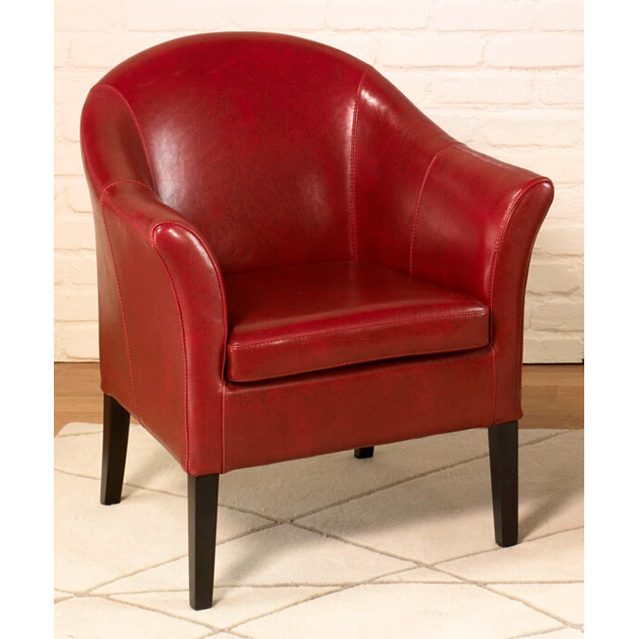 Clementine Red Leather Club Chair Dcg Stores