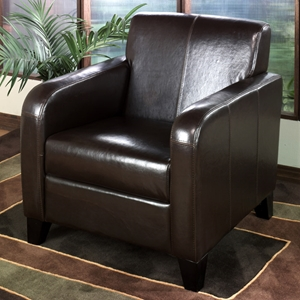 Chad Leather Club Chair in Brown