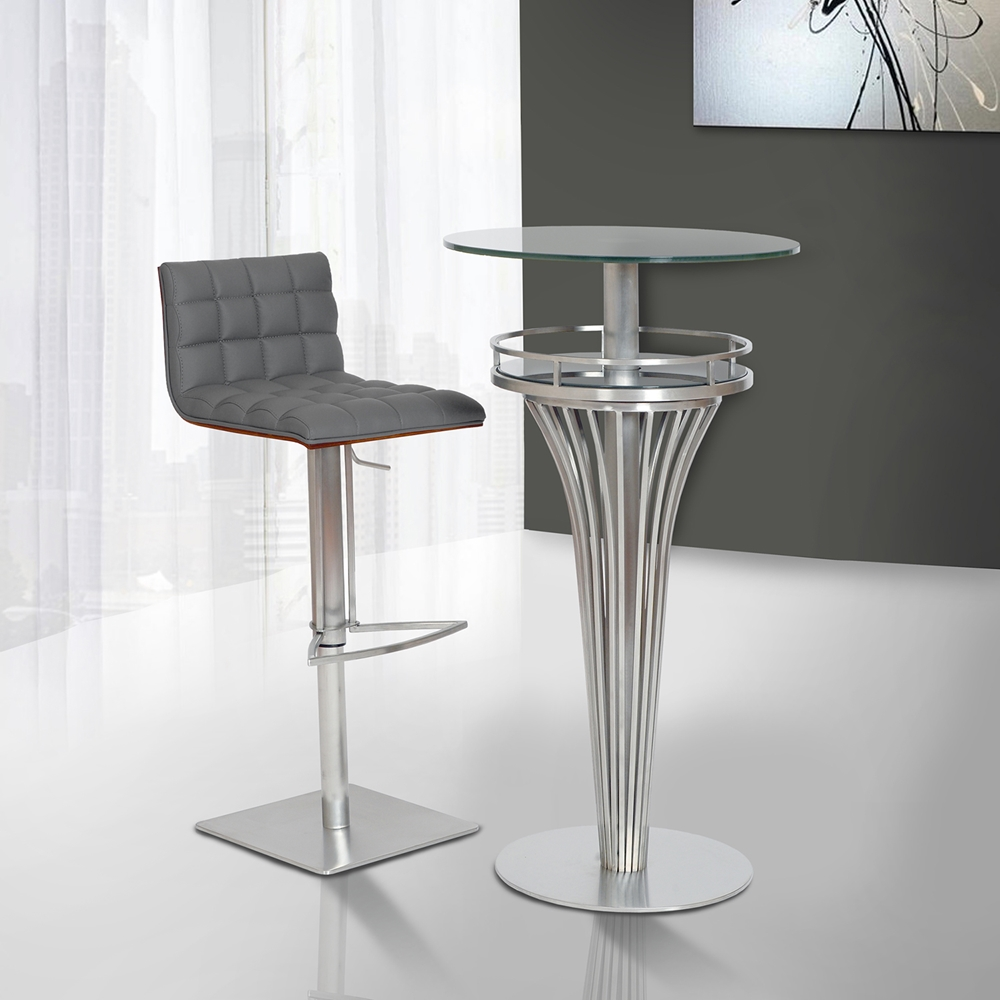 Oslo Adjustable Barstool Gray Brushed Stainless Steel