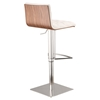 Oslo Adjustable Barstool - White, Brushed Stainless Steel - AL-LCOSSWBAWHB201