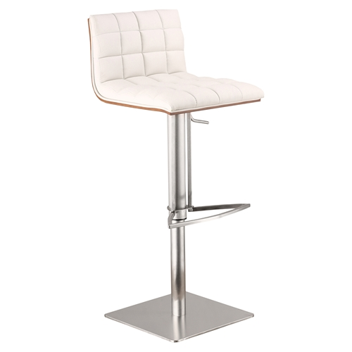 Oslo Adjustable Barstool White Brushed Stainless Steel