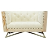 Regis Sofa Set - Tufted, Cream Fabric, Pine Frame, Gunmetal Legs - AL-LCRECR-SET