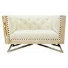 Regis chair tufted cream fabric pine frame gunmetal legs al