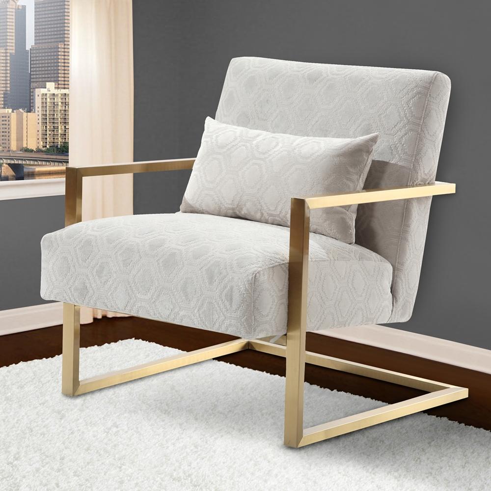 Skyline Modern Accent Chair Cream Chenille Gold Metal