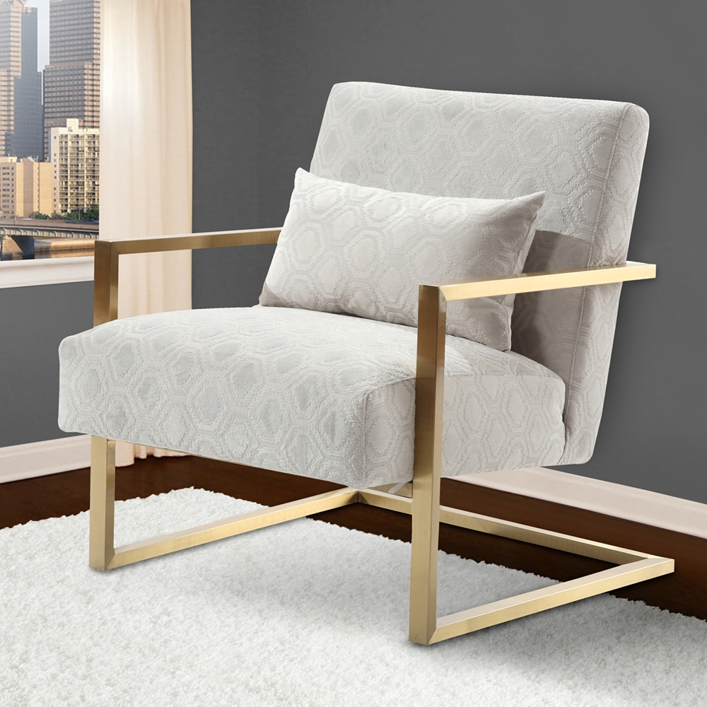 Skyline modern accent chair cream chenille gold metal for Modern accents