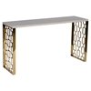 Skyline Console Table - White Top, Gold Metal Base - AL-LCSKCNWHMT