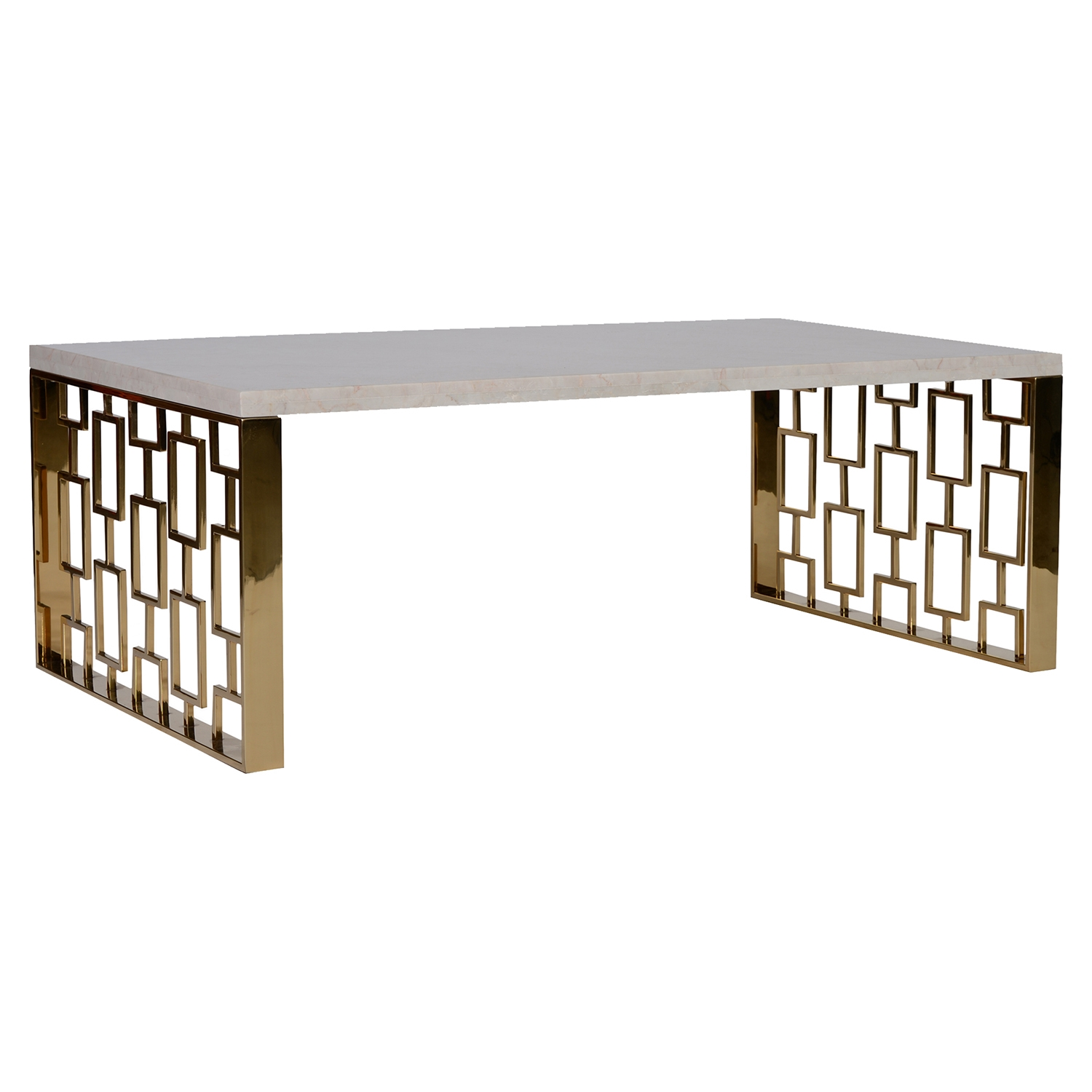 Skyline Coffee Table - White Top, Gold Metal Base - AL-LCSKCOWHMT