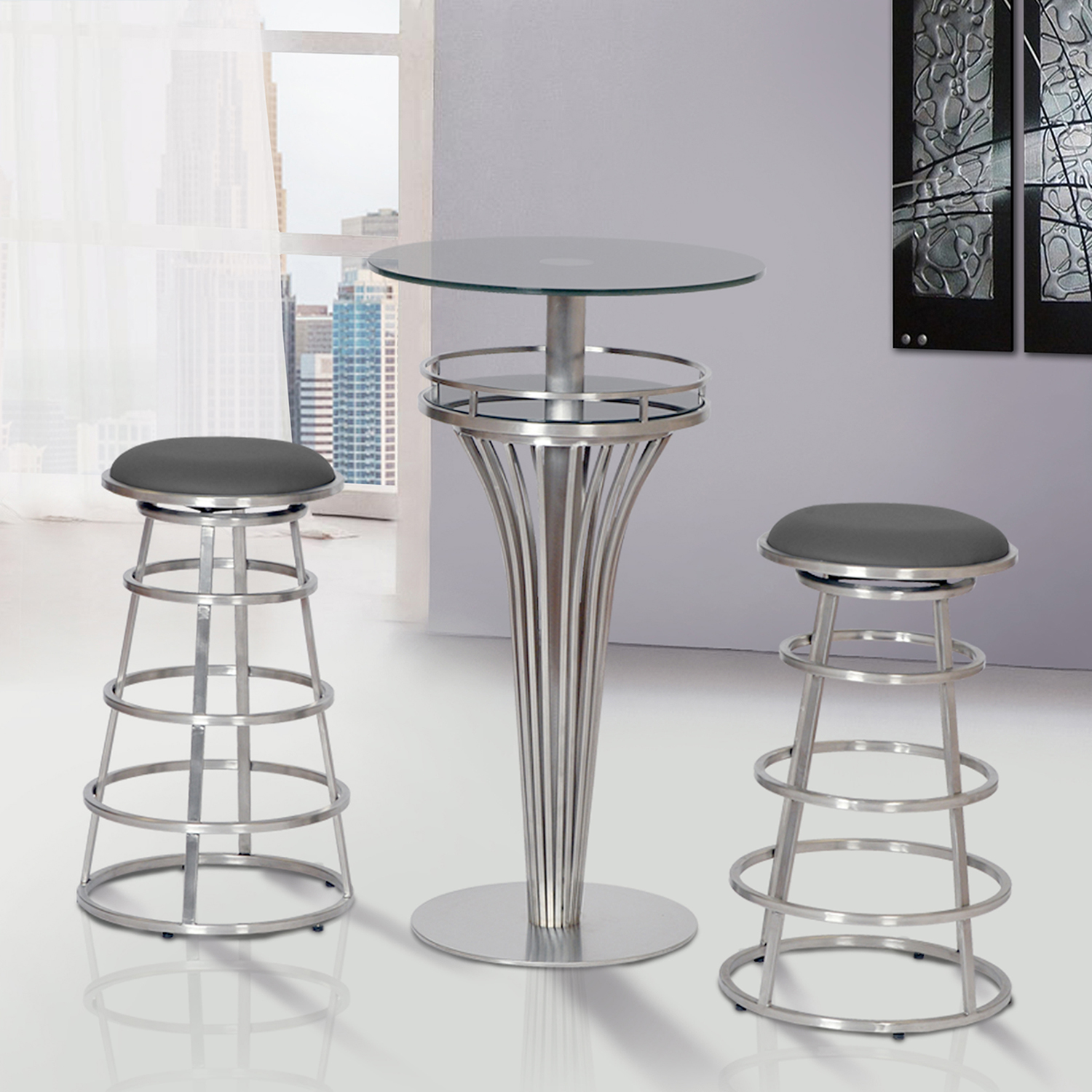 Yukon Contemporary Bar Table - Stainless Steel, Gray Glass - AL-LCYUBTB201TO
