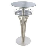 Yukon Contemporary Bar Table - Stainless Steel, Gray Glass