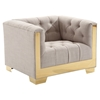 Zinc Contemporary Chair - Taupe Tweed, Shiny Gold - AL-LCZI1TAU