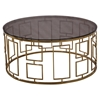 Zinc Contemporary Coffee Table - Shiny Gold, Smoked Glass Top - AL-LCZINCCO