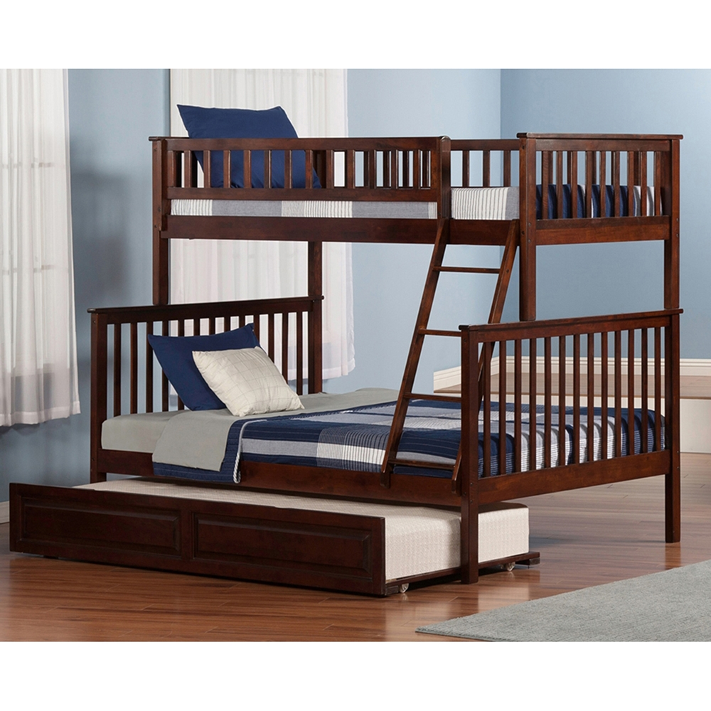 Woodland Twin Over Full Bunk Bed Raised Panel Trundle