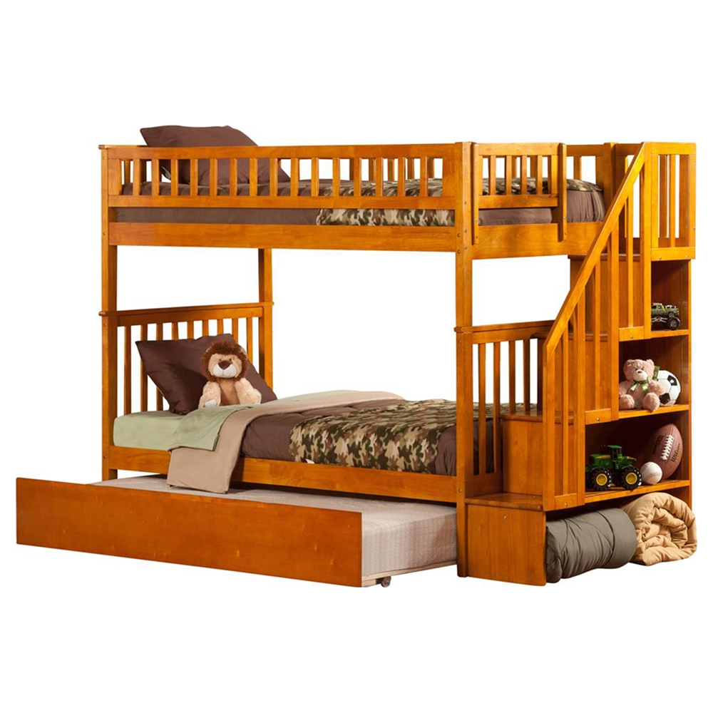 Woodland Twin Over Twin Bunk Bed Staircase Urban