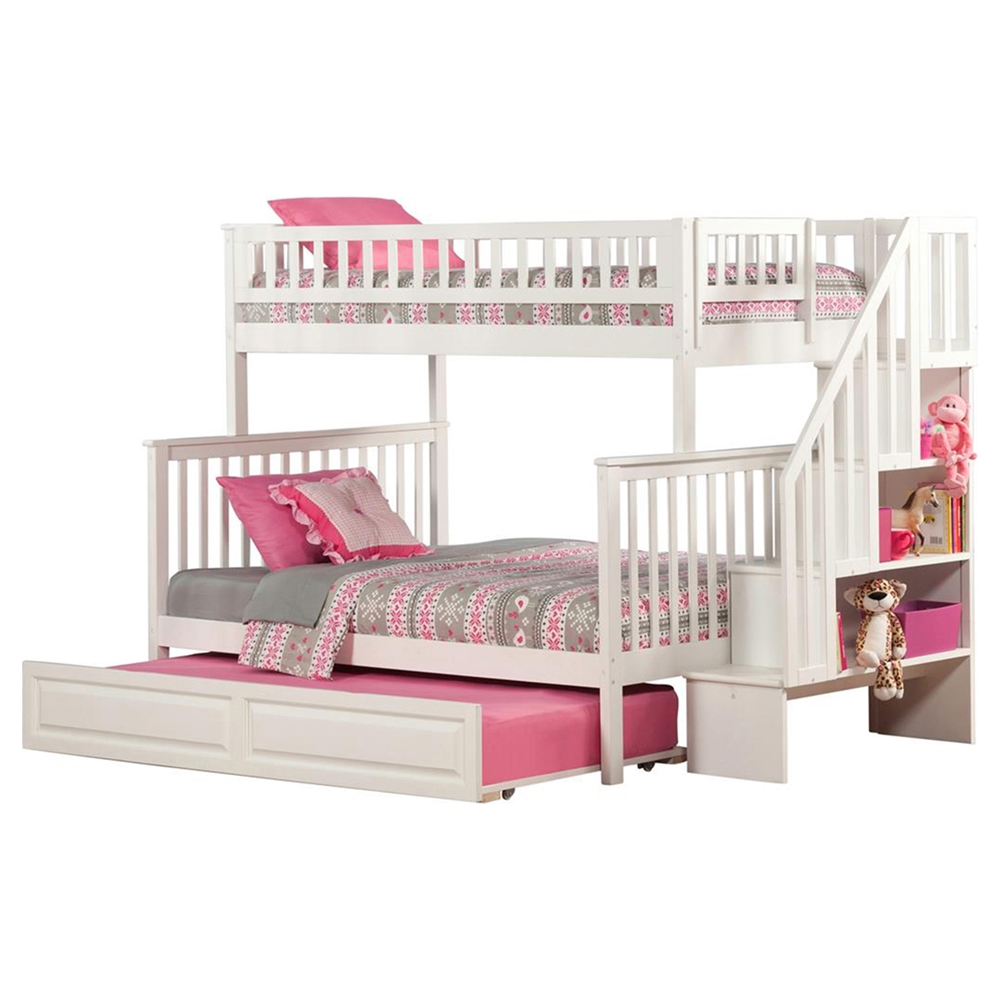 Woodland Twin Over Full Bunk Bed Staircase Raised Panel