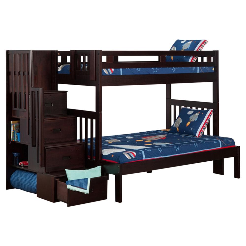 Cascade Twin Over Full Bunk Bed Espresso Staircase