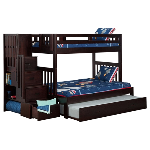 Cascade Twin Over Full Bunk Bed Trundle Bed Espresso