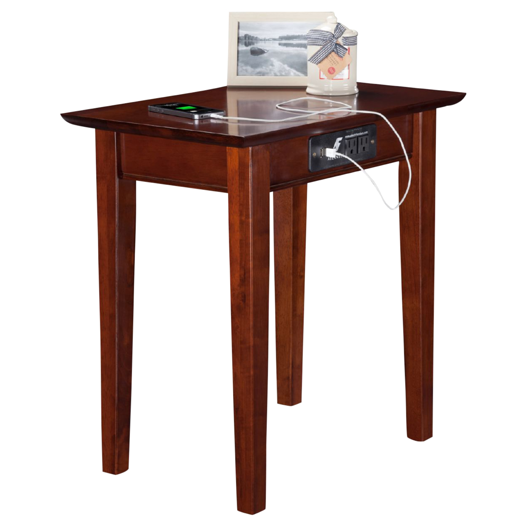 Delightful Shaker Chair Side Table   Rectangular, Charging Station   ATL AH1311 ...