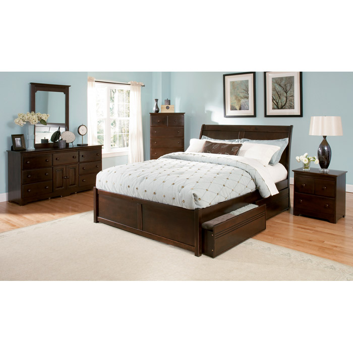 Platform Beds W Drawers : Bordeaux platform bed w flat panel footboard and drawers