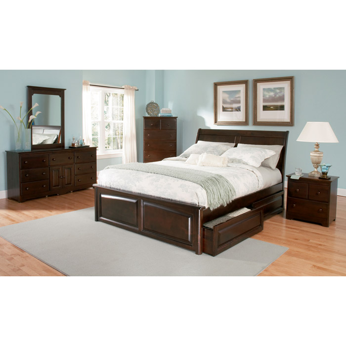 Bedroom Ideas Gray Sleigh Bed Bedroom Ideas Small Bedroom Wall Art Bedroom Bench Stool: Bordeaux Sleigh Bed W/ Raised Panel Footboard And Drawers
