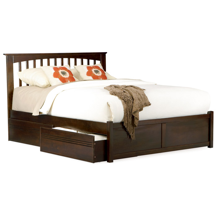 Platform Beds W Drawers : Brooklyn platform bed w flat panel footboard and drawers