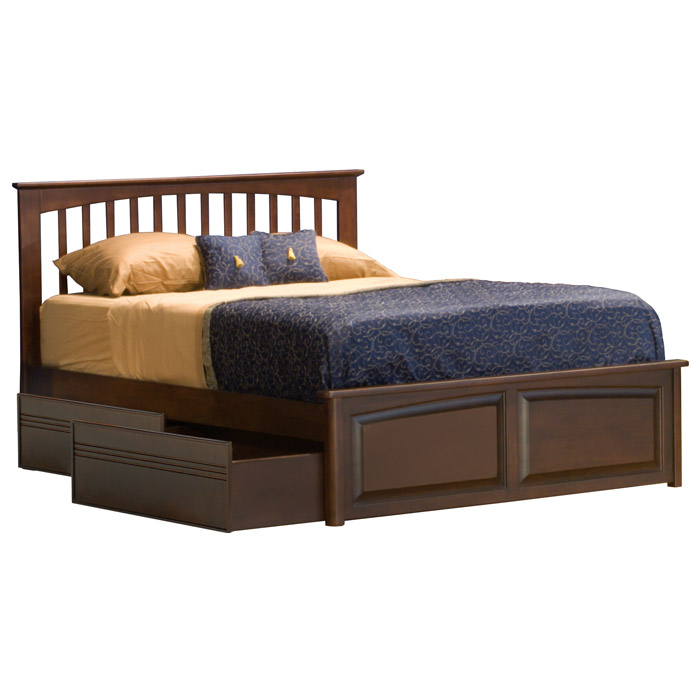 Brooklyn Bed w/ Raised Panel Footboard and Flat Panel Drawers - ATL-BBRPFFPD