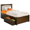 Brooklyn Twin Bed w/ Flat Panel Footboard and Drawers - ATL-BTWBFPFD